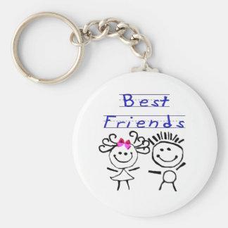 Best friends stick figure basic round button keychain