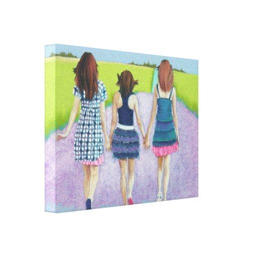 Best Friends - three girls Gallery Wrap Canvas