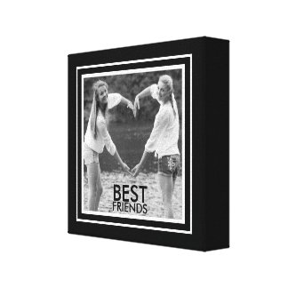 BEST Friends with Cute Black and White Photo Frame Canvas Print