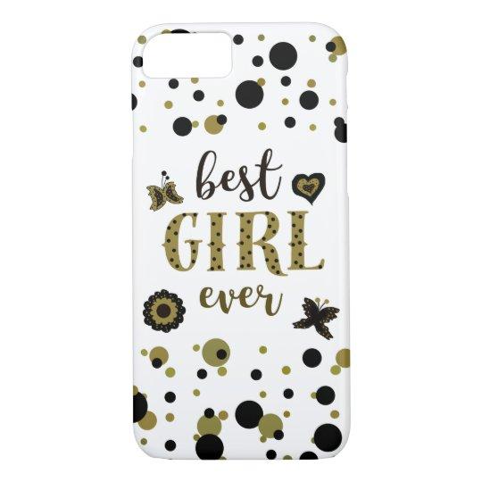 Best Girl Ever Dots Golden Black Spring Boho Chic iPhone 8/7 Case