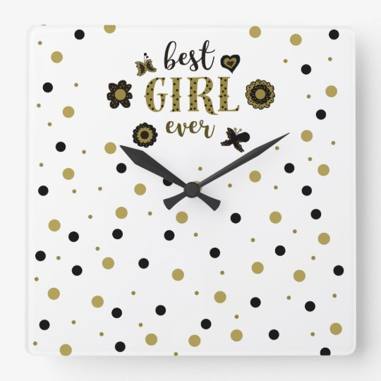 Best Girl Ever Dots Golden Black Spring Boho Chic Square Wall Clock