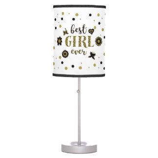 Best Girl Ever Dots Golden Black Spring Boho Chic Table Lamp