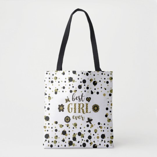 Best Girl Ever Dots Stripes Golden Spring Boho Tote Bag