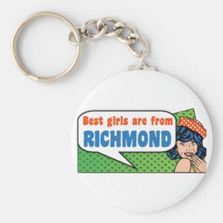 Best girls are from Richmond Basic Round Button Keychain