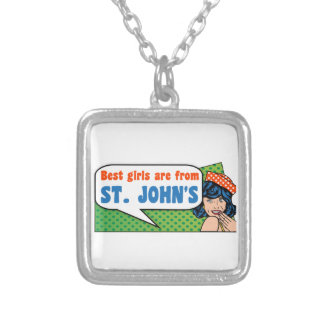 Best girls are from St. John's Silver Plated Necklace