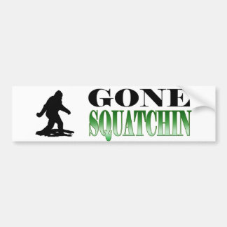 *BEST* Gone Squatchin, Finding Bigfoot, Sasquatch Bumper Sticker