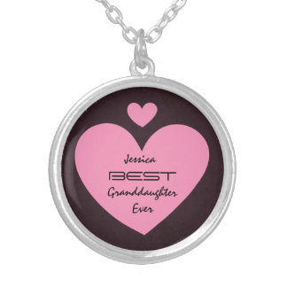 Best GRANDDAUGHTER Ever PINK Hearts V01 Silver Plated Necklace