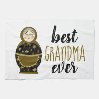 Best Grandma Ever Golden Matryoshka Russian Doll Kitchen Towel