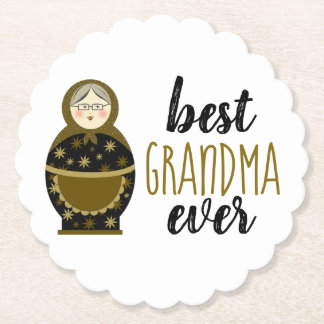 Best Grandma Ever Golden Matryoshka Russian Doll Paper Coaster