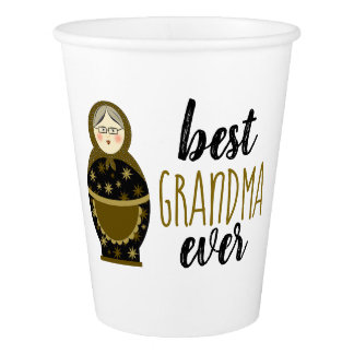 Best Grandma Ever Golden Matryoshka Russian Doll Paper Cup