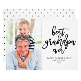 Best Grandpa Ever | Black On White Card