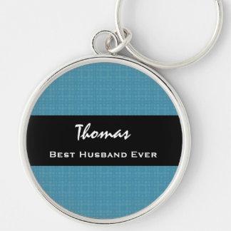 Best Husband Ever Blue and Black Custom Name Keychain