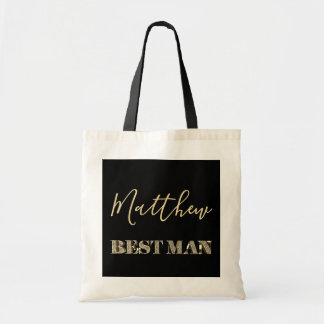 Best Man Black Gold Glitter Typography Tote Bag