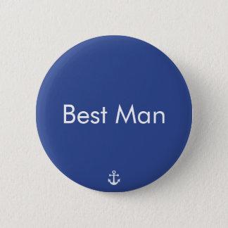 Best Man Blue Nautical Wedding Buttons