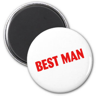 Best Man (Bold Red) 2 Inch Round Magnet