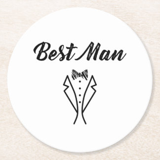 Best Man Bowtie Tuxedo Wedding Gift Round Paper Coaster