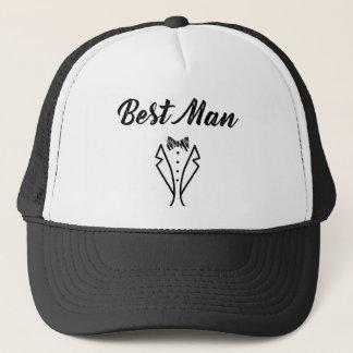 Best Man Bowtie Tuxedo Wedding Gift Trucker Hat