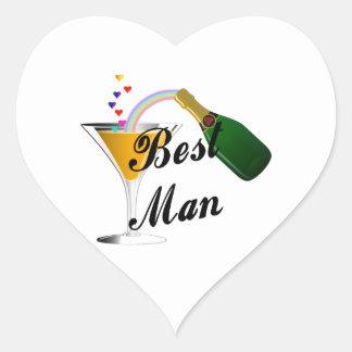 Best Man Champagne Toast Heart Sticker