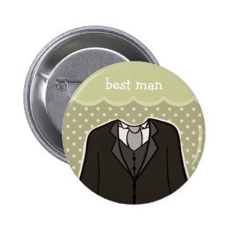 Best Man // GREEN 2 Inch Round Button