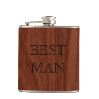 Best Man Rustic Woodgrain | Wedding Party Hip Flask