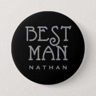 Best Man Silver Faux Glitter Name Tag Button