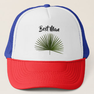 Best Man Tropical Palm Frond Leaf Wedding Trucker Hat