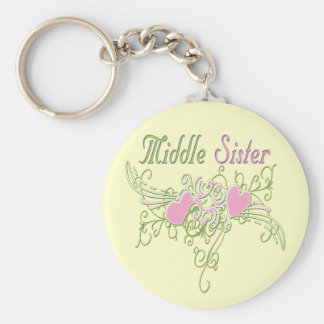 Best Middle Sister Swirling Hearts Basic Round Button Keychain