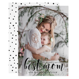 Best Mom   Black Modern Calligraphy Mother's Day Card
