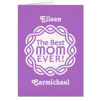BEST MOM custom monogram greeting card