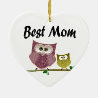 Best Mom cute Owls art Ceramic Heart Ornament