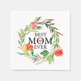 Best Mom Ever-Colourful Flowers Wreath Disposable Napkin