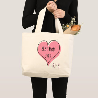 Best Mom Ever Cute Heart Initials Large Tote Bag