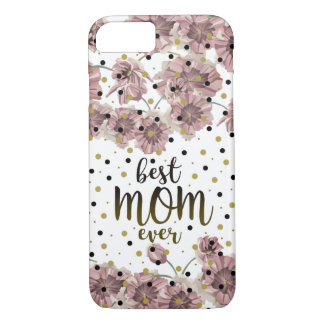 Best Mom Ever Floral Purple Blossom Spring Golden iPhone 8/7 Case