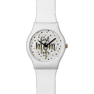 Best Mom Ever Golden Black Dots Confetti Stylish Watch