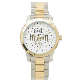 Best Mom Ever Golden Black Dots Confetti Stylish Watch
