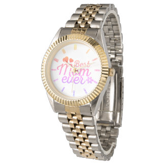 Best Mom Ever Hearts and Flower Watches