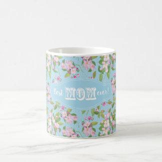 Best Mom Ever Pink Apple Blossom Floral on Blue Coffee Mug