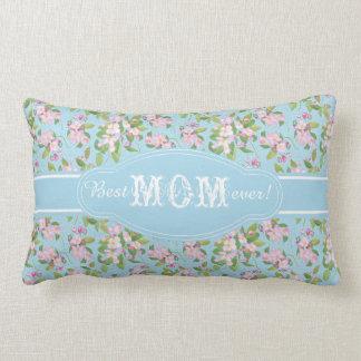 Best Mom Ever Pink Apple Blossom on Blue Pattern Lumbar Pillow