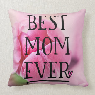 Best Mom Ever Pink Tulip Throw Pillow