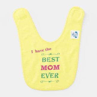 """Best Mom Ever"" Pretty Text Art Design Bib"