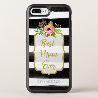 Best Mom Ever Watercolor Gold Floral Striped OtterBox Symmetry iPhone 8 Plus/7 Plus Case