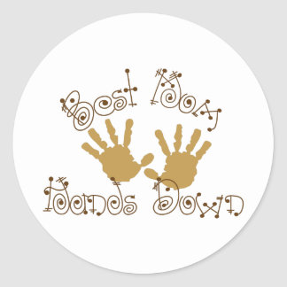 Best Mom Hands Down Round Sticker