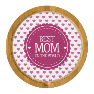 Best Mom in the World Pink Hearts and Circle Rectangular Cheese Board