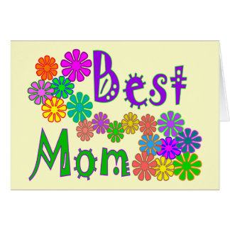 """Best MOM""  Retro Flowers Mother's Day Gifts Cards"