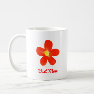 Best Mom Watercolor red flower White 11 oz Mug