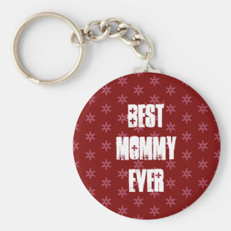 Best MOMMY Ever Red Stars Christmas Gift Set Basic Round Button Keychain