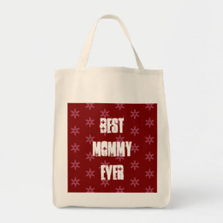 Best MOMMY Ever Red Stars Christmas Gift Set Grocery Tote Bag