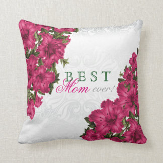 Best Mother Ever Pink Lily Flowers Throw Pillow
