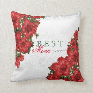 Best Mother Ever Red Lily Flowers Throw Pillow