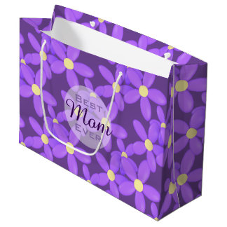 Best Mum Ever Purple Daisy Large Custom Gift Bag